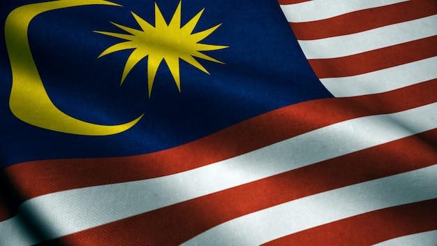 マレーシアの国旗の3 dアニメーション。現実的なマレーシアの国旗が風になびかせて。 Premium写真