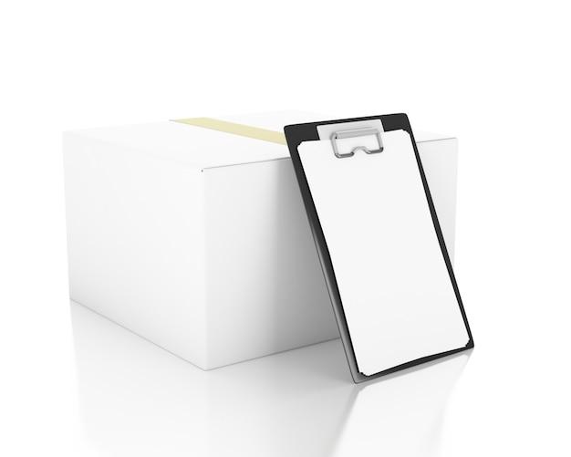 3 dイラスト。チェックリスト付き段ボール箱。配達のコンセプトです。孤立した白い背景 Premium写真