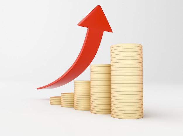 3 dイラスト金貨とグラフの矢印。ビジネスで成功 Premium写真