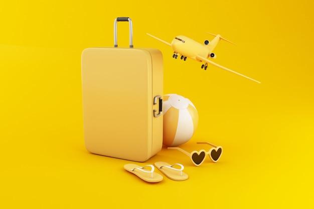 3 dイラストスーツケース、ビーチボール、フリップフロップ、サングラス、黄色の背景に旅行します。 Premium写真