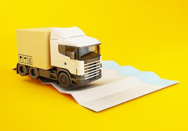 紙市内地図上の段ボール箱と3 dのトラック。 Premium写真