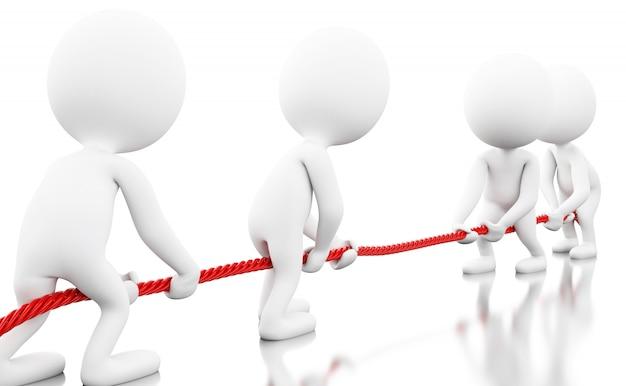 ロープを引っ張って3 dホワイトビジネス人々 Premium写真