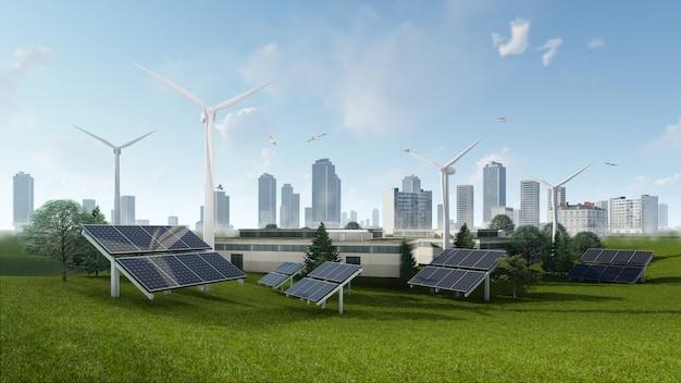 太陽電池と風力タービンの3 dレンダリング図 Premium写真