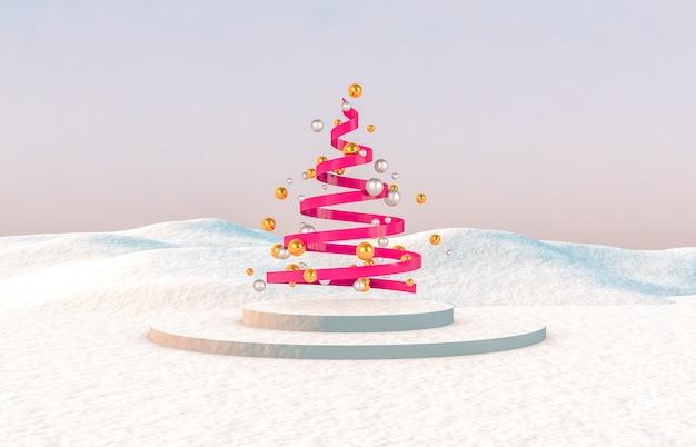 抽象的な3 d構成。冬のクリスマスツリーとクリスマスの背景。 Premium写真