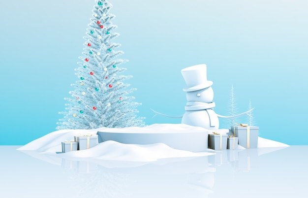 抽象的な3 d構成。クリスマスツリー、雪の男、ギフトボックスと冬クリスマスの背景。 Premium写真