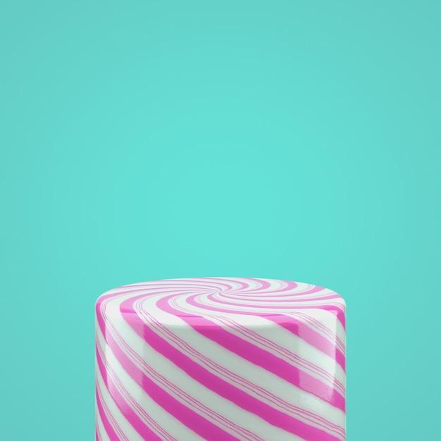 製品表示用の空のピンクのキャンディシリンダーボックス。 3 dクリスマスの背景。 Premium写真