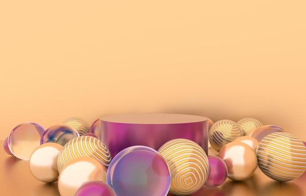 クリスマスボールの背景を持つ空のシリンダーボックス。高級化粧品の展示シーン。 3 dレンダリング。 Premium写真