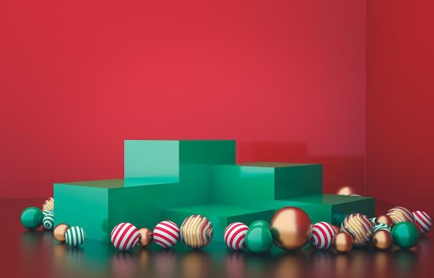 クリスマスボールの背景を持つ空のキューブボックス。高級化粧品の展示シーン。 3 dレンダリング。 Premium写真