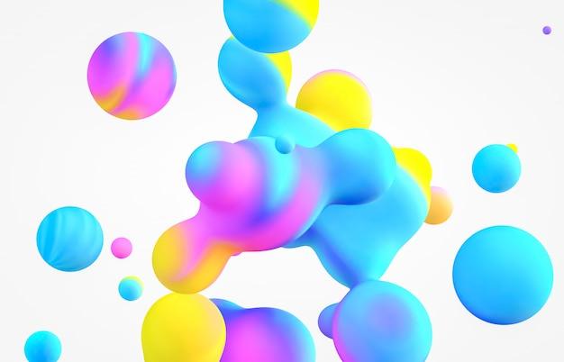 3 dアートの背景を抽象化します。ホログラフィック浮遊液体ブロブ、シャボン玉 Premium写真