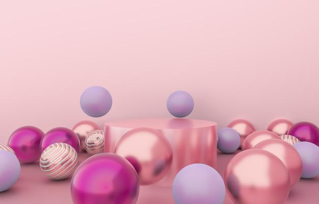 クリスマスボールの背景を持つ空のシリンダーボックス。高級化粧品展示シーン。 3 dのレンダリング。 Premium写真