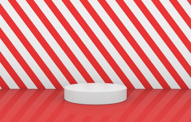 赤い縞模様の背景を持つ空のシリンダーボックス。 3 dクリスマスパーティーの背景。 Premium写真