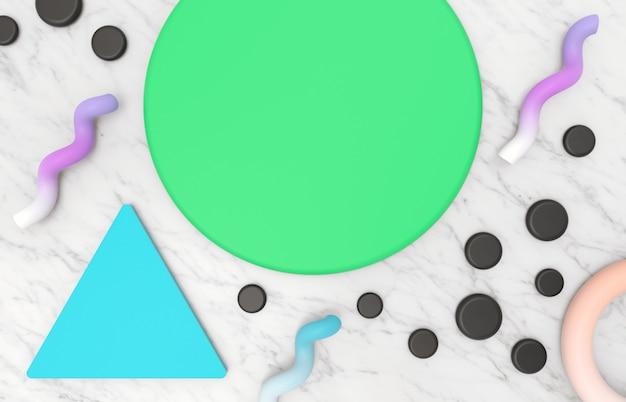 メンフィスの幾何学的形状と大理石の石の背景を持つ製品表示の抽象的な美容ファッション背景。 3 dのレンダリング。 Premium写真