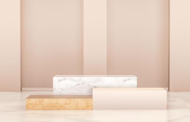 製品展示用の豪華な表彰台。ミニマリストのゴールド、大理石、白の色。 3 dのレンダリング。 Premium写真