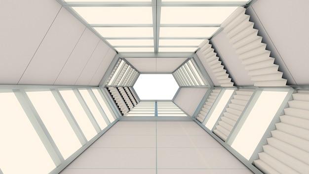 抽象的な背景、六角形のトンネル、ゲートの3 dレンダリング Premium写真