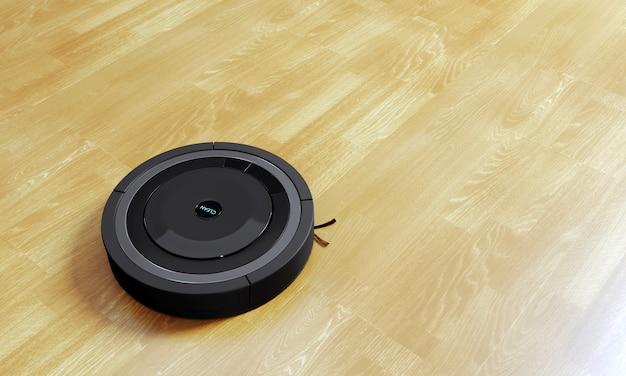 ラミネートで作られた3 dレンダリング黒ロボット掃除機床 Premium写真