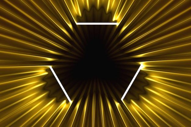 抽象的なゴールドの背景ネオンフレームに照らされた3 dイラストレーション Premium写真