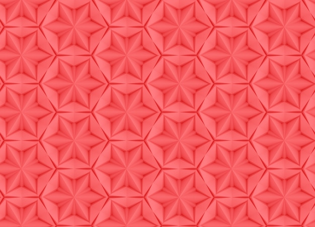 スイベルと押し出された要素の抽象的なサンゴ色の六角形グリッドに基づくシームレステクスチャ3 dイラスト Premium写真