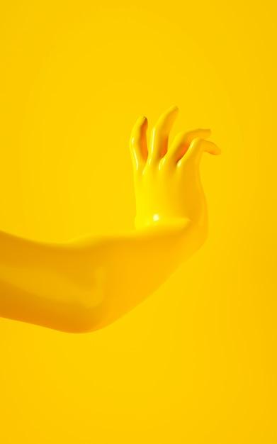 黄色の背景に黄色の手の垂直3 dレンダリング Premium写真