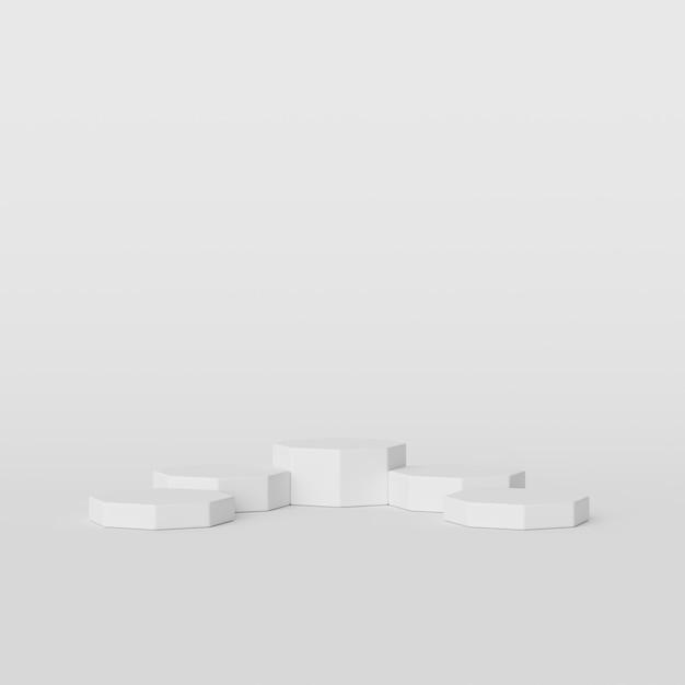 白い背景、製品、3 dレンダリングのための最小限の表彰台に抽象的な白い色の幾何学図形 Premium写真