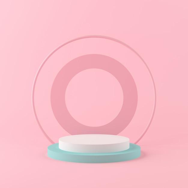 3 dレンダリングジオメトリ図形シーンミニマルコンセプト、パステルカラーの表彰台、製品または香水の背景のモックアップ Premium写真