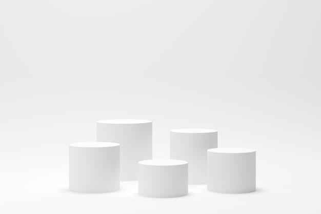ディスプレイと製品の白い背景を持つ3 dレンダリング抽象的な幾何学図形表彰台シーン Premium写真
