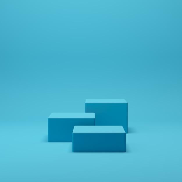 ディスプレイと製品の青い背景を持つ3 dレンダリング抽象的な幾何学図形表彰台シーン Premium写真