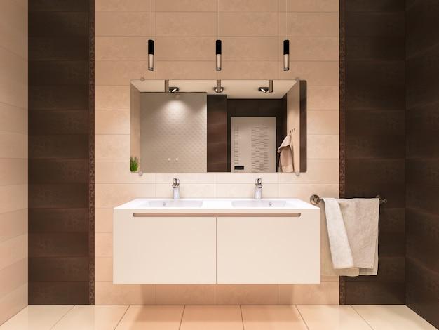 茶色を基調にしたバスルームの3 dイラストレーション Premium写真