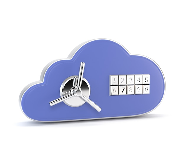 アイコン白い背景に分離された組み合わせロックのデータベース。安全。 3 dイラスト Premium写真