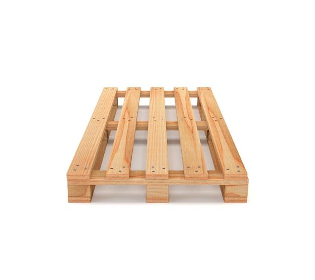 白い背景上に分離されて木製のパレット。 3 dイラスト Premium写真