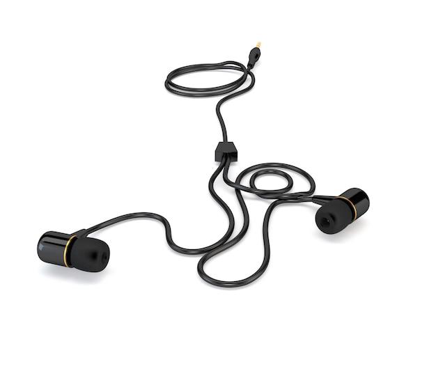 白い背景に分離された黒のケーブル付きヘッドフォン。 3 dイラスト Premium写真