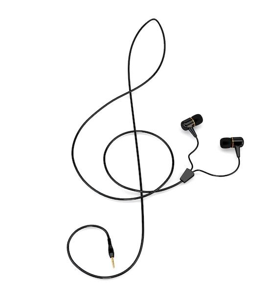 白い背景に分離された高音部記号の形のケーブルと音楽コンセプトヘッドフォン。 3 dイラスト Premium写真