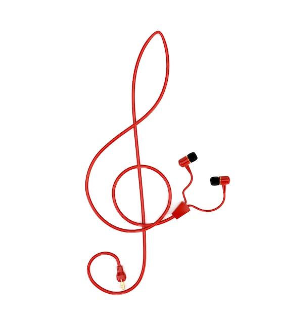 白い背景に分離された高音部記号の形の赤いケーブルで音楽コンセプトヘッドフォン。 3 dイラスト Premium写真