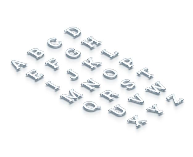 ガラスの透明なアルファベット、等角図、3 dレンダリング。 Premium写真