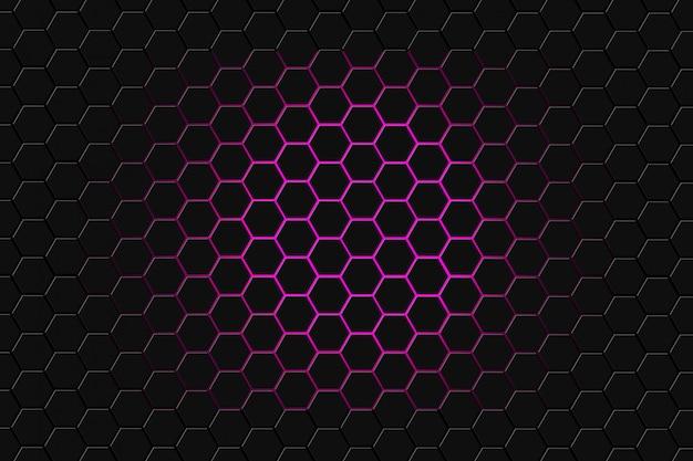 六角形で未来の表面の抽象的な3 dレンダリング。暗い紫色のサイエンスフィクションの背景。 Premium写真