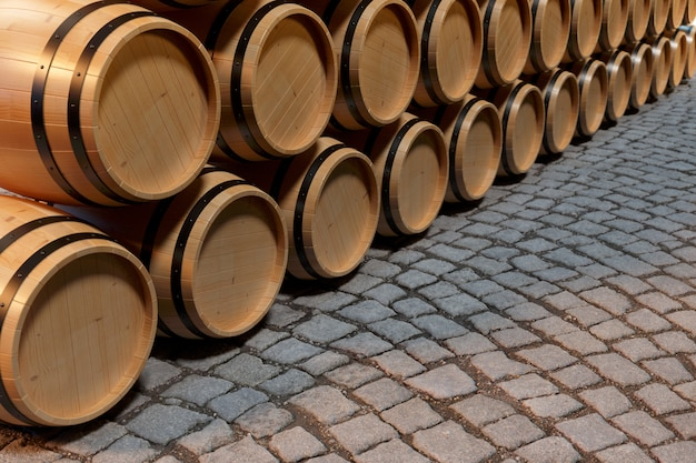 3 dイラストレーション木製樽ワイン。ワイン、コニャック、ラム酒、ブランデーなどの木製樽のアルコール飲料。 Premium写真