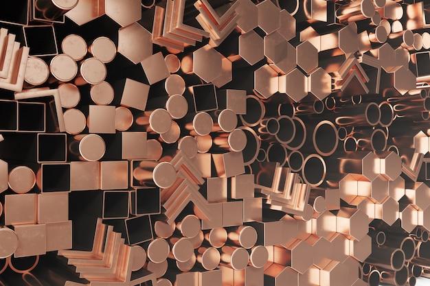 円筒形銅鋼プロファイル、六角形銅鋼プロファイル、正方形銅鋼プロファイル。異なる銅鋼製品、3 dイラストレーション Premium写真