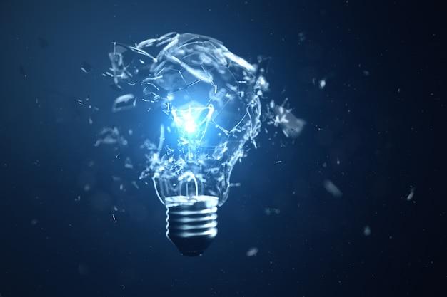 青色の背景に3 dイラスト爆発電球 Premium写真
