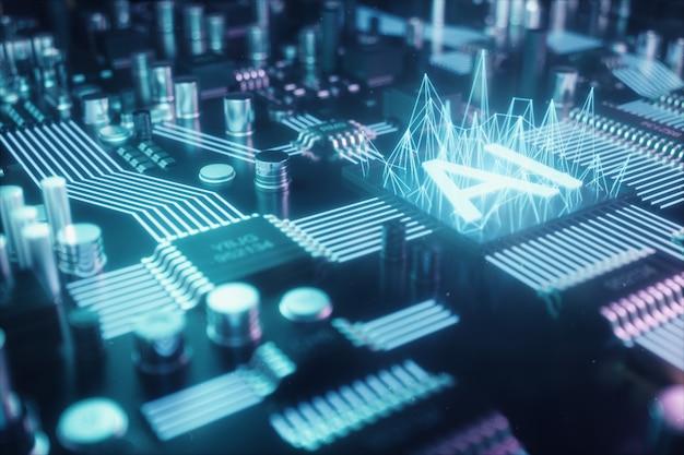 3 dイラストレーションは、プリント回路基板上の人工知能を抽象化します。技術とエンジニアリングの概念。人工知能のニューロン。電子チップ、ヘッドプロセッサー。 Premium写真