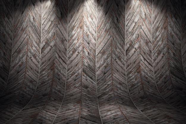 古い汚れた湾曲した木製の背景。 3 dレンダリング図 Premium写真