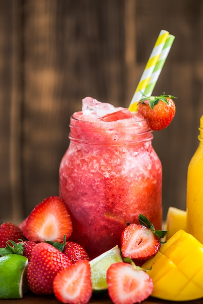 3 delicious slushies from different berries and fruits Premium Photo