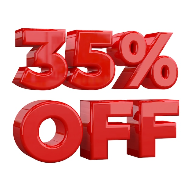 35% off on white background, special offer, great offer, sale. thirty five percent off promotional Premium Photo