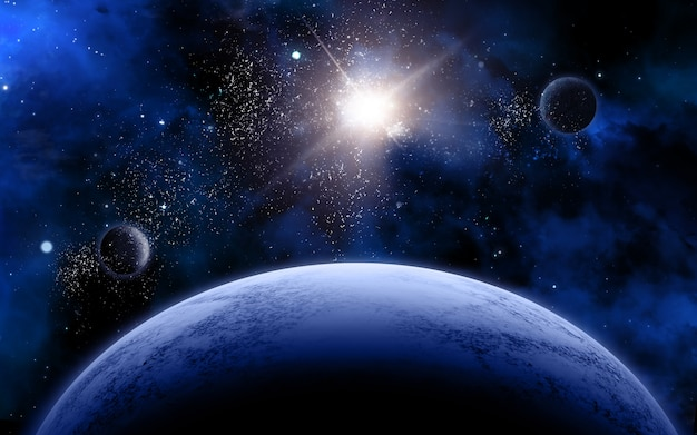 架空の惑星や星を持つ3次元空間シーン 無料写真