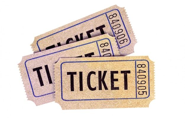 3 старых лотерейных билета изолированного на белой предпосылке. Бесплатные Фотографии