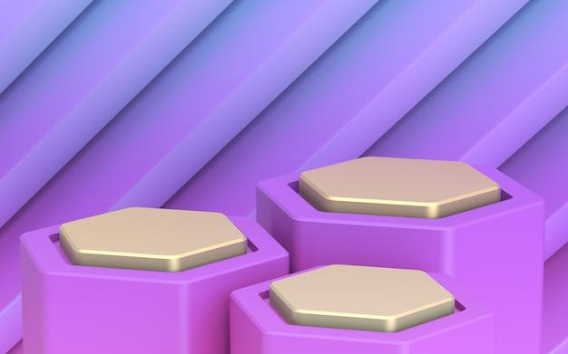 あなたの商品の背景。ゴールデン3レベルのショーケース。紫遠い計画 Premium写真