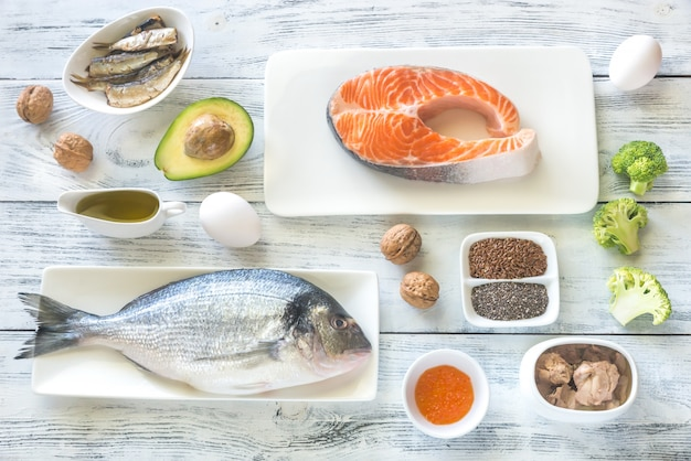 オメガ-3脂肪を含む食品 Premium写真
