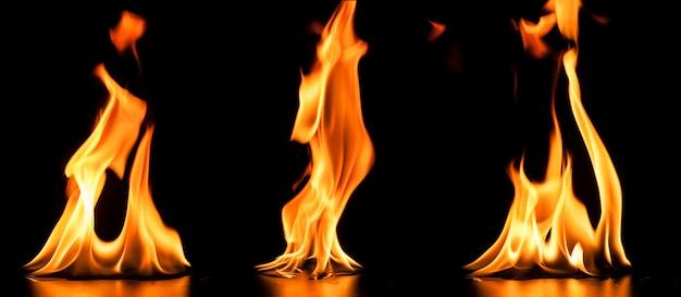 3つの大きな炎の背景 無料写真