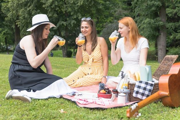 公園で健康なジュースを楽しんでいる3人の女性 無料写真
