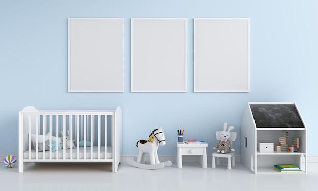 子供部屋のモックアップのための3つの空のフォトフレーム Premium写真