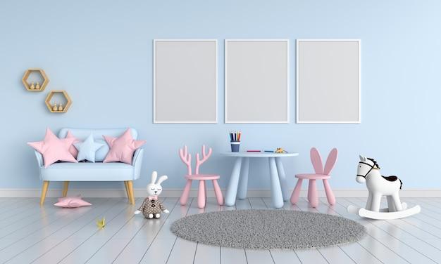 子供部屋のモックアップのための3つの空白のフォトフレーム Premium写真