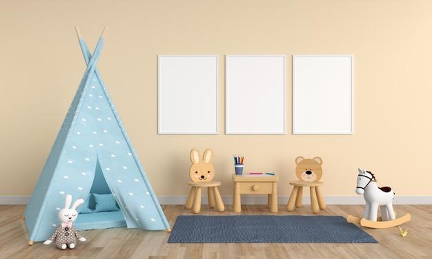 子供部屋の3つの空の空白のフォトフレーム Premium写真